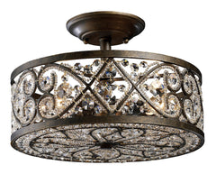 11286/4 Amherst 4-Light Semi Flush in Antique Bronze & Crystal ELK Lighting