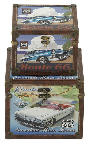 62290 Classic Cars Route 66 Canvas Wood Square Storage Box Set of 2 by Benzara
