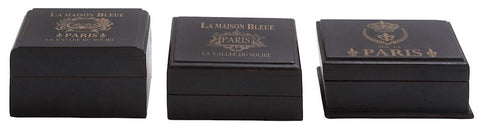 24900 La Maison Bleue Wood in Black Rectangular Storage Box Set/3 by Benzara