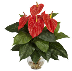 6668 Anthurium Silk Flowers in Water w/Vase by Nearly Natural | 17.5 inches