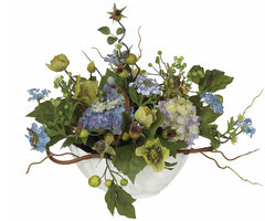 4622-BL Hydrangea Silk Flower Arrangement w/Bowl by Nearly Natural | 14 inches