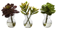 4954-S3 Mixed Succulents Set/3 Silk Plants by Nearly Natural | up to 6 inches