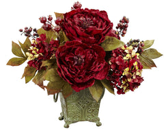 4928 Peony & Hydrangea Silk Arrangement by Nearly Natural | 14 inches
