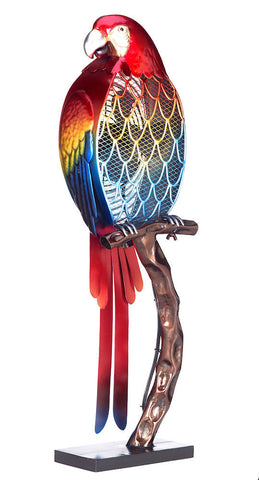 DBF0338 Macaw Parrot Large Hand Painted Metal Figurine Table Fan by Deco Breeze