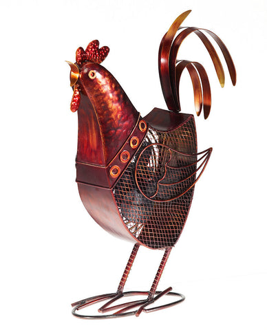 DBF0360 Rooster Hand Painted Metal Figurine Table Fan by Deco Breeze