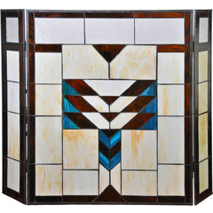 River of Goods 14574 | Adobe Mission 3-Panel Stained Glass Decorative Fireplace Screen | Image 1 - Main