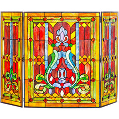 River of Goods 8221 | Fleur de Lis Red 3-Panel Stained Glass Decorative Fireplace Screen | Image 1 - Main