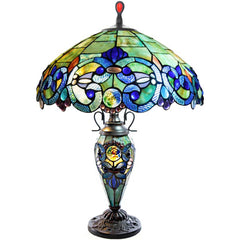 River of Goods 11047 | Corrista Blue & Green Stained Glass 26 inch Table Lamp w/ Lighted Base | Image 1 - Main