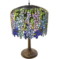 River of Goods 11410 | Grand Wisteria Stained Glass 29.5 inch Table Lamp with Tree Trunk Base | Image 1 - Main