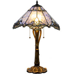 River of Goods 19404 | Crystal Lace Blue Jewel Stained Glass 24.75 inch Table Lamp | Image 1 - Main