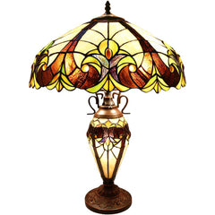 River of Goods 6332 | Halston Ivory Stained Glass 24.5 inch Table Lamp with Lighted Base | Image 1 - Main