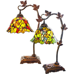 River of Goods 8960 11048 | Floral Leaf Stained Glass 23.5 inch Table Lamp in 2 Colors | Image 1 - Main