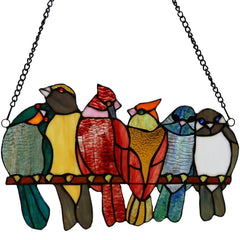 River of Goods 19425 | Birds in Love Decorative Stained Glass Hanging Window Panel | Image 1 - Main