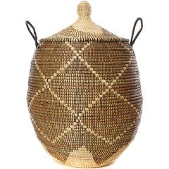 sen11f Black & Cream Diamonds Extra Large Traditional Laundry Hamper Basket | Senegal Fair Trade by Swahili Imports