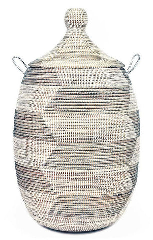Silver & White Chevron Large Traditional Laundry Hamper Storage Basket