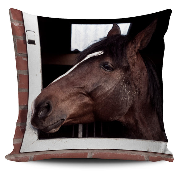 Brown Horse on the Farm Pillow Cover (2)