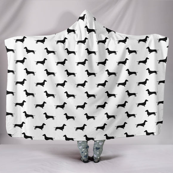 Cute Black Dachshunds Hooded Blanket