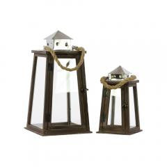 Nautical wood square lantern with chrome silver metal top