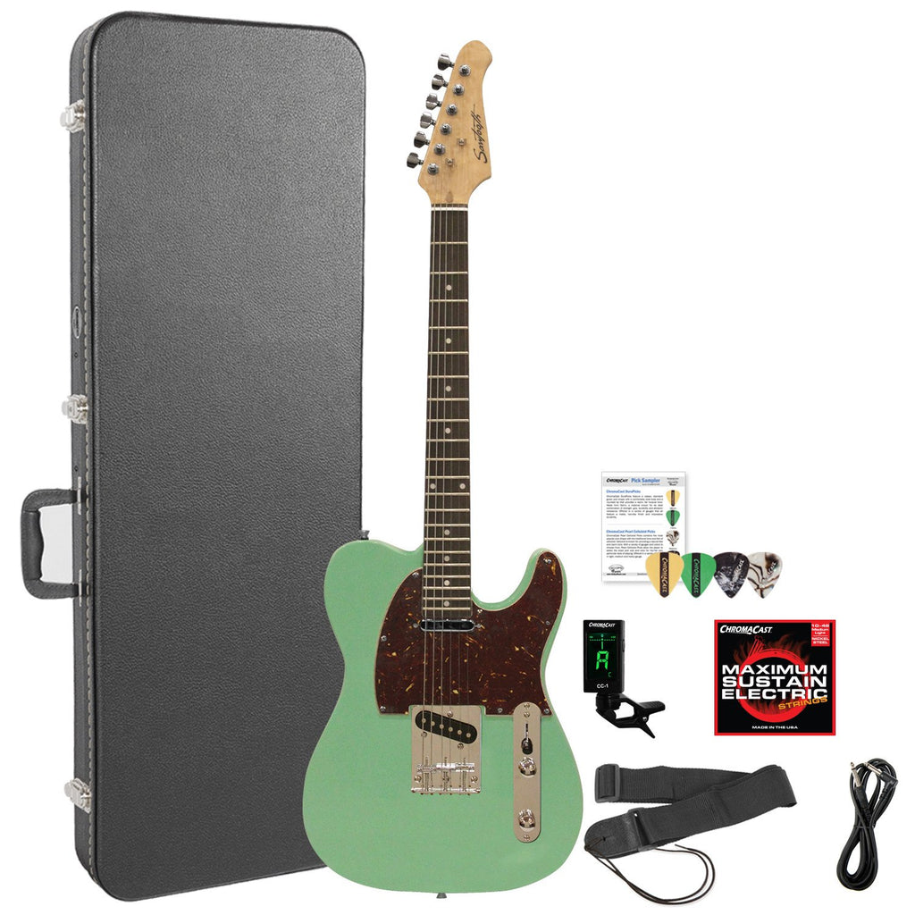 Sawtooth ST-ET-SGRT-KIT-6 Electric Guitar Kit, Surf Green with Tortoise Pickguard & Accessories
