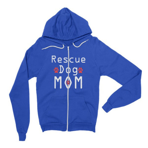 Rescue Dog Mom - Hoodie Zipper Sweater -  - 1