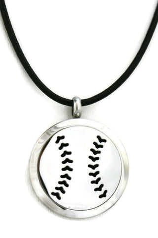 Baseball Stainless Steel Essential Oil Diffuser Necklace- 30mm-Diffuser Necklace-Destination Oils