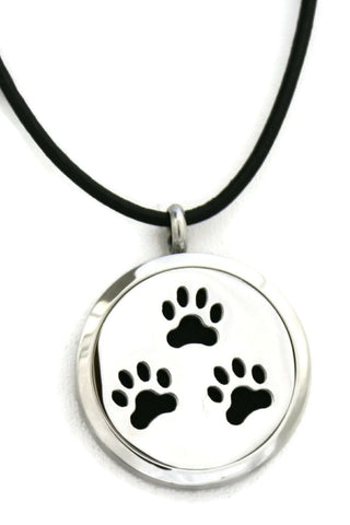 "Paw-some Stainless Steel Diffuser Necklace- 30mm- 18-20"" Black Cowhide-Diffuser Necklace-Destination Oils"
