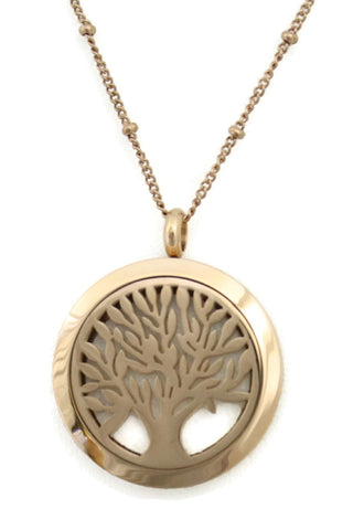 "Bloom Tree Of Life Rose Gold Stainless Steel Diffuser Necklace- 30mm- 30""-Diffuser Necklace-Destination Oils"
