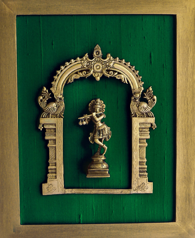 Beautiful Framed Brass Prabhavali On Emerald Green Raw Silk With Lord Krishna. Frame Height 45 cm x Width 35 cm - theindianweave