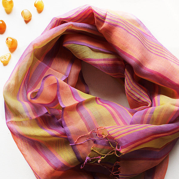 Striped Cotton Scarf in Magenta, Yellow & Pink - theindianweave