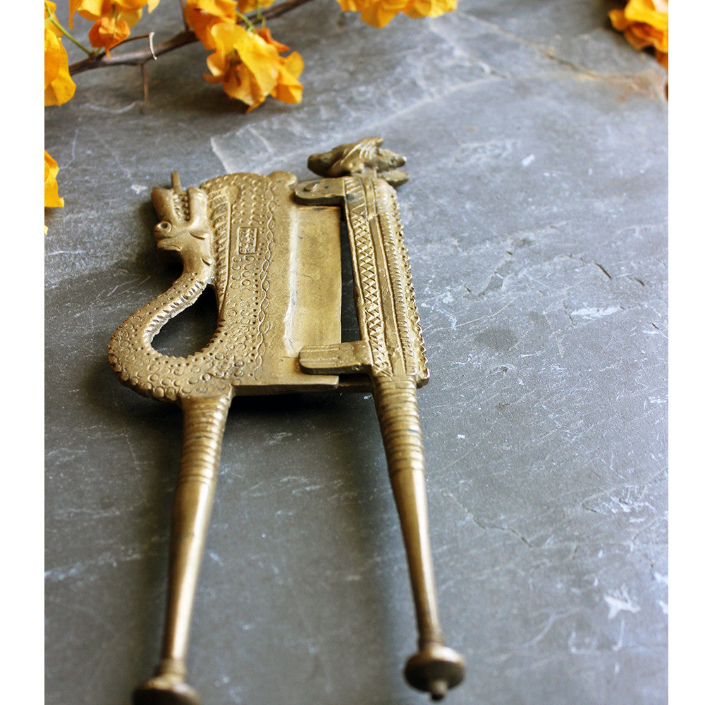 Vintage Man & Dragon Beetle Nut Cutter Hand Crafted In Brass - 23.5 Cm Length - theindianweave