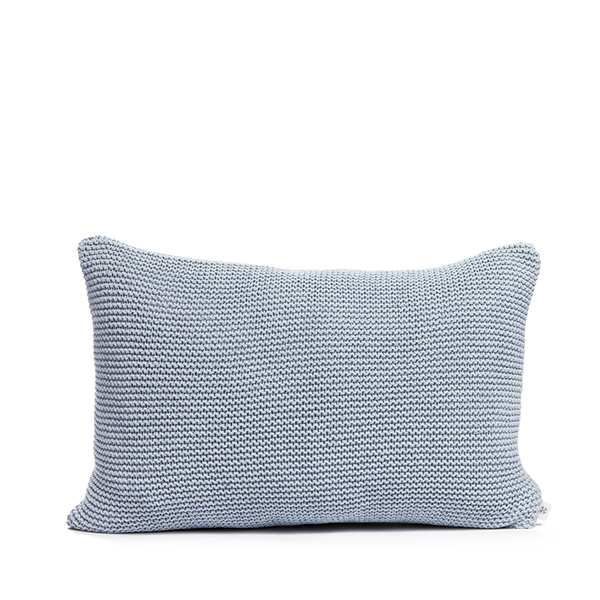 Recycled denim cushion soft blue