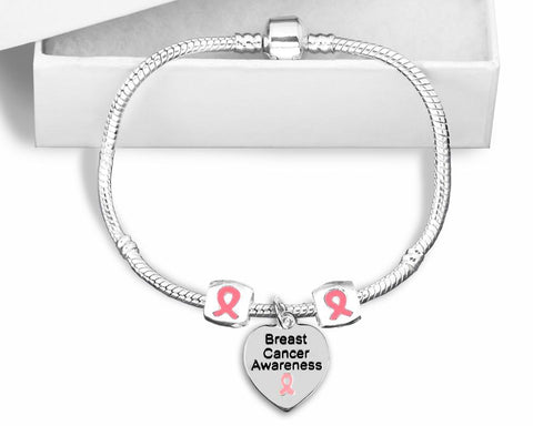 Breast Cancer Snake Chain Bracelet