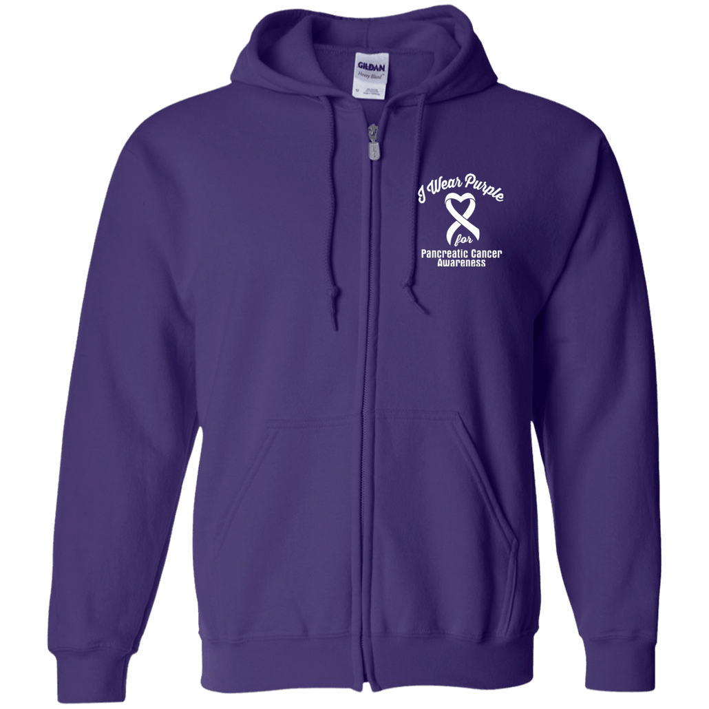 I Wear Purple For Pancreatic Cancer Awareness... Zip Up Hoodie