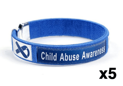 5 Pack Child Abuse Awareness Bangle