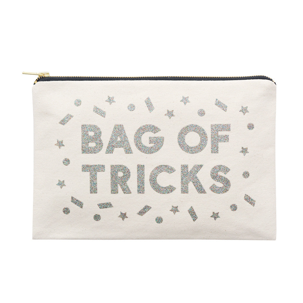 tricks silver glitter large pouch accessories