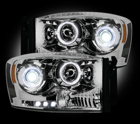 Headlights - Projector CLEAR Fits Dodge RAM 06-08  LED Halos & DRLs Part # 264199CL - Mr. Motorsports