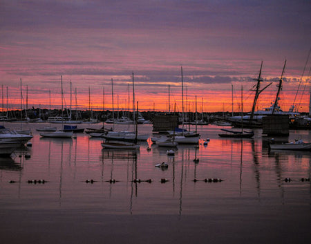 "Nantucket Harbor: Boats and Sunrise -- Truly a good morning -- 30"" x 40"" -- Custom 3/4"" plexiglass frame"