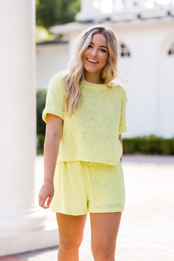 Stay Sunny Top- Highlighter Yellow