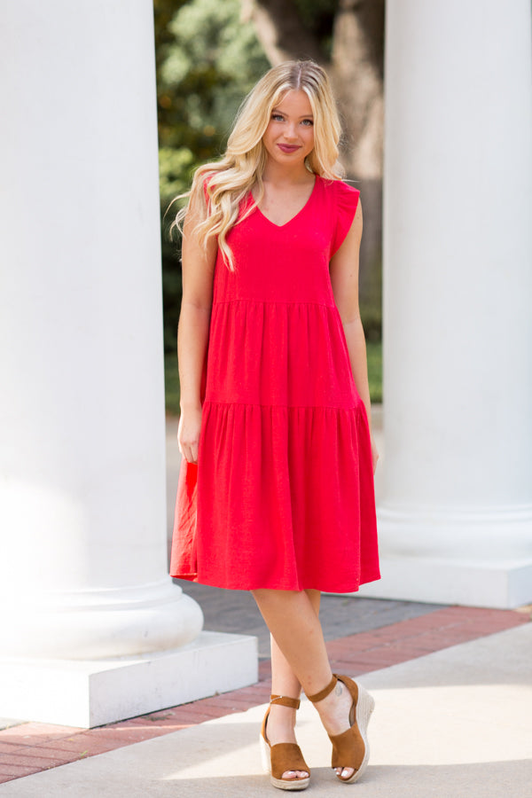 Making Moves Midi Babydoll Dress- Red