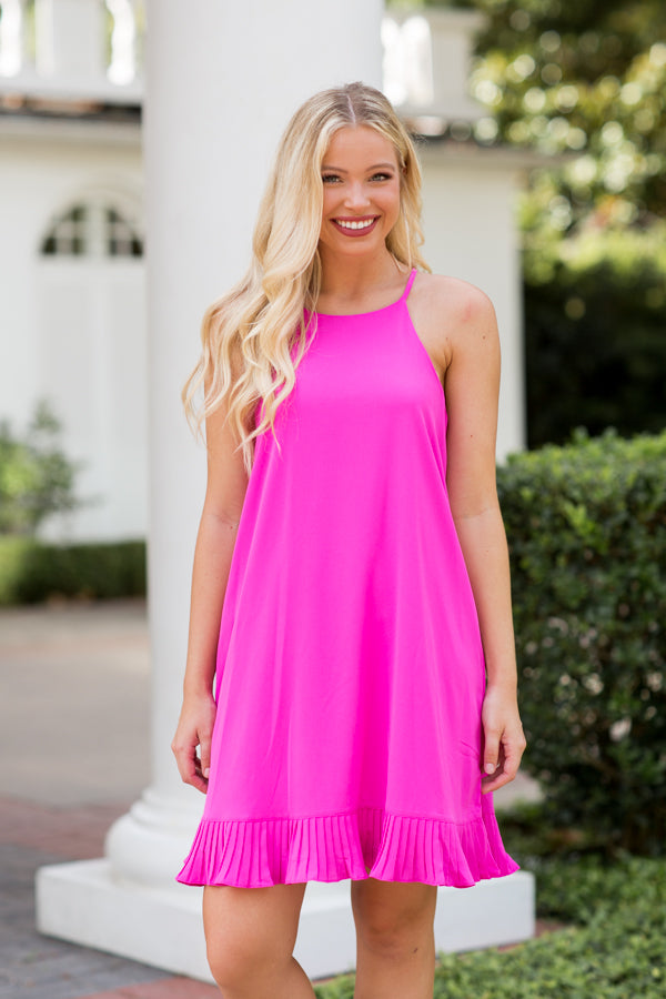 Ready To Rush Dress- Hot Pink