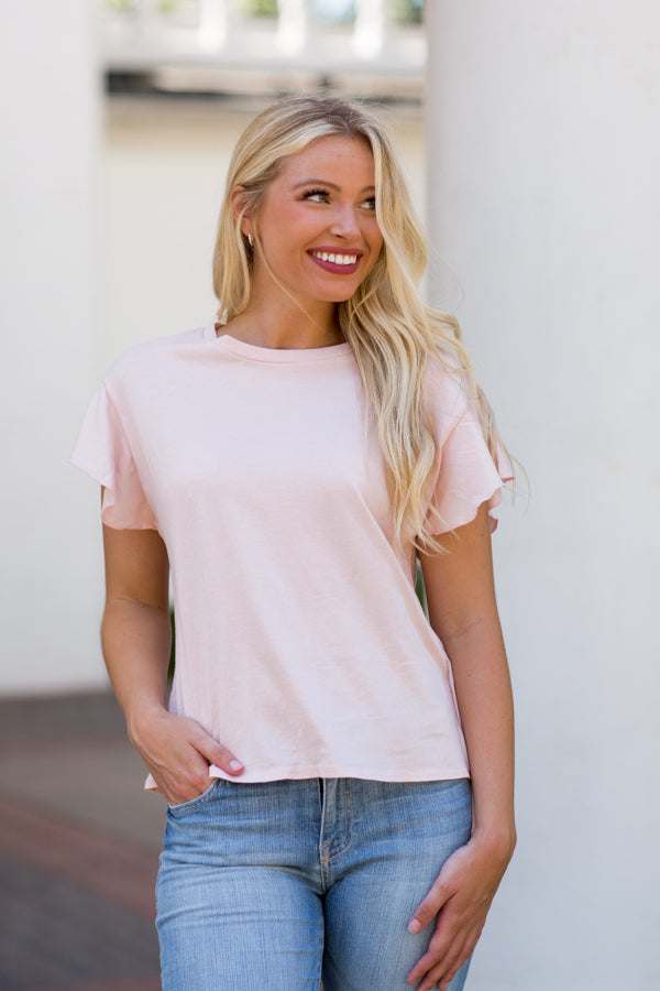 Without Me Tee- Blush