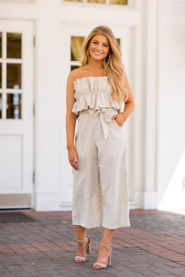 Peplum Pleats Jumpsuit- Natutral
