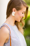 Tessa Straw Earrings - White