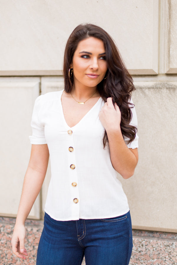 All About Buttons Top- White