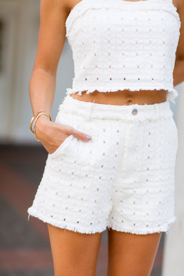 Fun & Frayed Eyelet Set- White