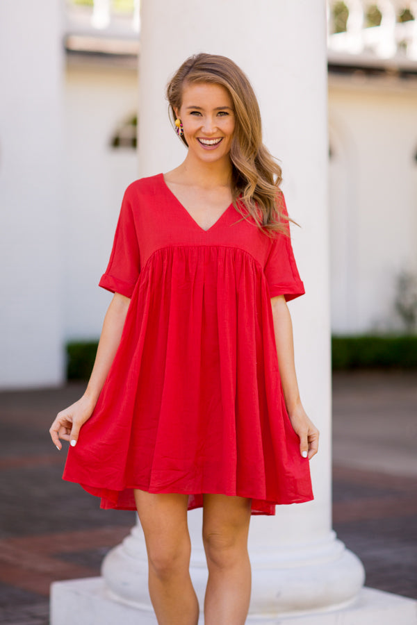 Babydoll Babe Dress - Red