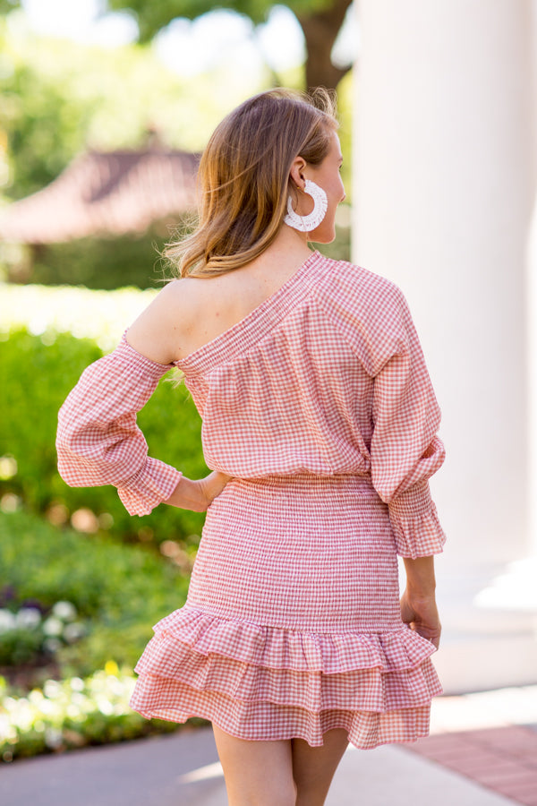 Gingham Girl Dress - Terracotta