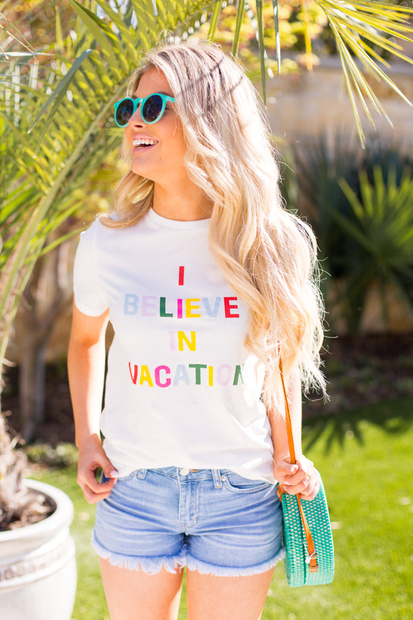 Ban.do Believe In Vacation Tee- White