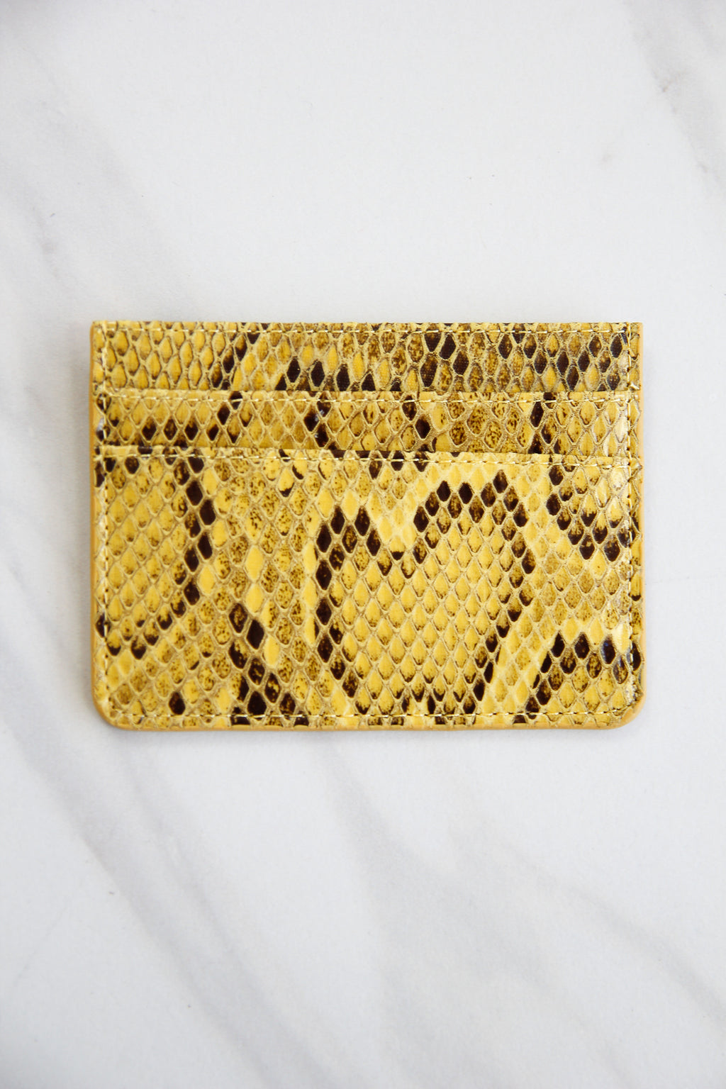 Snakeskin Three Fold Wallet - Yellow