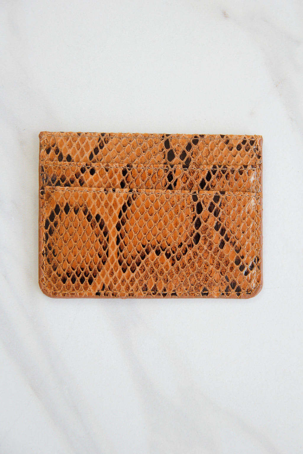 Snakeskin Three Fold Wallet - Cognac
